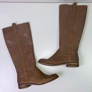 Very Volatile I Tan Leather Riding Knee High Boot